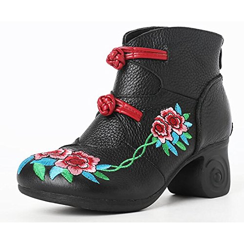 Booties ZHZNVX Shoes Black for HSXZ Round Heel Toe Cowhide Grey Boots Bootie Winter Chunky Casual Ankle Fall Women's Gray Boots Comfort Red OSOrFAqR