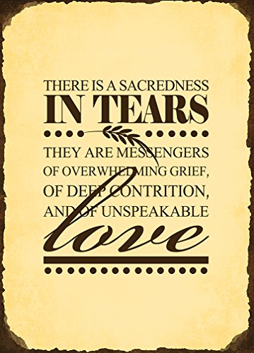 THERE IS A SACREDNESS IN TEARS THEY ARE MESSENGERS OF OVERWHELMING Metal Sign Vintage Look