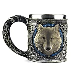 Stainless Steel Wolf Mug, EZESO Resin 3D Wolf Coffee Cup Stainless Steel Travel Tea Wine Beer Mugs