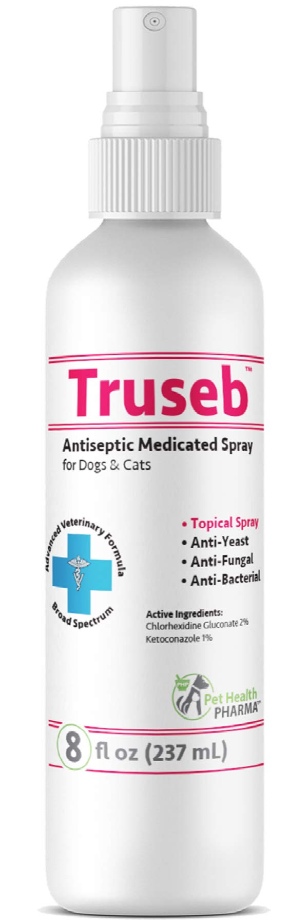 Truseb | #1 Chlorhexidine Spray for Dogs, Cats and Horses, Antibacterial, Antiseptic, Antimicrobial and Antifungal Medicated Spray with Chlorhexidine 2%, Ketoconazole 1%.–Advanced Veterinary Formula