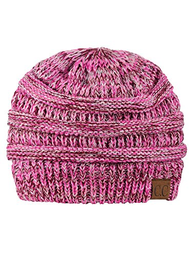 C.C Trendy Warm Chunky Soft Stretch Cable Knit Beanie Skully, 3 Tone - Winter Cable Knit Hat
