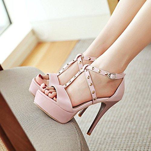 Mujer Zapatos Talón Verano US8 Negra Abierto Hebilla Rosa Comodidad Sandalias Blanca UK6 PU Remache ZHZNVX Boda Primavera CN39 Talón UE39 Stiletto Blanca Noche Novedad para de EwPxXqd