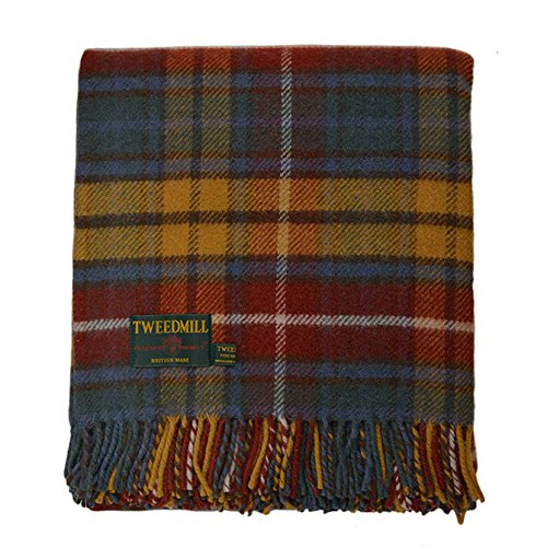 Birchwood Tweedmill Haverford West Throw Blanket, Antique Buchanan (Blanket Wool Antique)