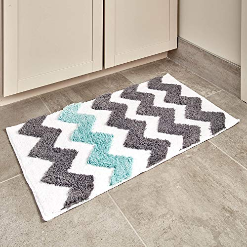 InterDesign Chevron Bath, Machine Washable Microfiber Accent Rug for Bathroom, Kitchen, Bedroom, Office, Kid's Room, Set of 1, Gray and Aruba
