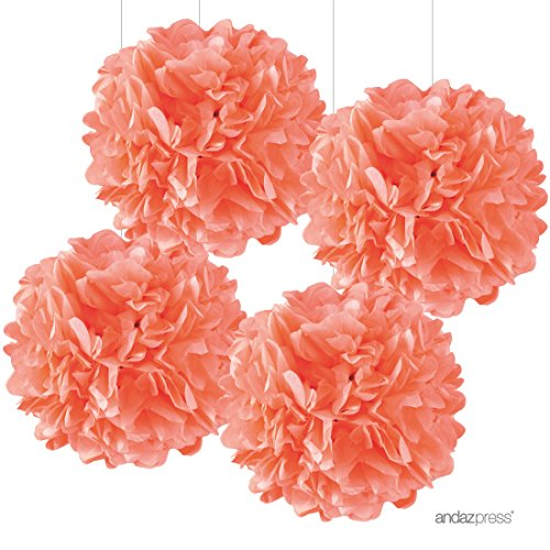 (Andaz Press Large Tissue Paper Pom Poms Hanging Decorations, Coral, 14-inch, 4-Pack, Garden Bridal Shower Wedding Decorations Colored Birthday Party Supplies)