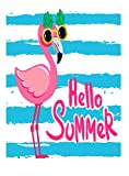 ALAZA Cartoon Summer Flamingol Bird Garden Yard Flag, Pink Animal Blue Stripe Double-sided Polyester Welcome House Flags Banner 28x40 inch for Outdoor Lawn Party Decor