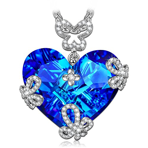 LADY COLOUR Heart Necklace for Women Butterfly Pendant with Swarovski Big Blue Crystals Fashion Costume Jewelry Brithday Anniversary Romantic Gifts Present Wife Her Girls Girlfriend Mom Mother -
