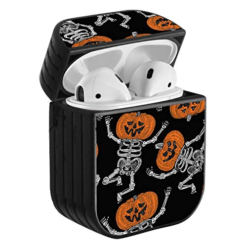 Compatible with Airpods 2 & 1, Shockproof Portable Protective Hard Cover Case with Neck Lanyard Strap - Funny Halloween Pumpkin Skull Skeleton Pattern]()