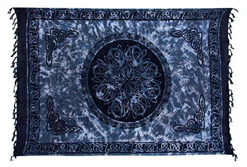 Sarong Pareo Dhoti Lunghi ca. 170cm x 110cm Grau Schwarz Weiss Batik mit Keltischen Motiv Handgefertigt