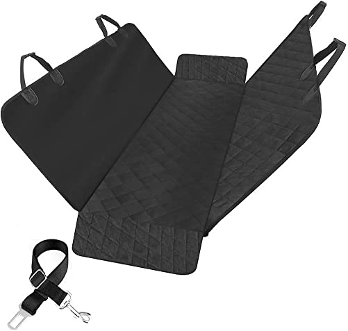 Tiancai Back Seat Cover Protector for Dogs, Dog Hammock for Back Seat Waterproof Non-Slip Anti-Fouling and Pet Fur, Suitable for Cars SUVs Trucks, Black