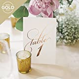 #4: Rose Gold Wedding Table Numbers (Assorted Color Options Available), Double Sided 4x6 Calligraphy Design, Numbers 1-25 & Head Table Card Included — from Bliss Paper Boutique …