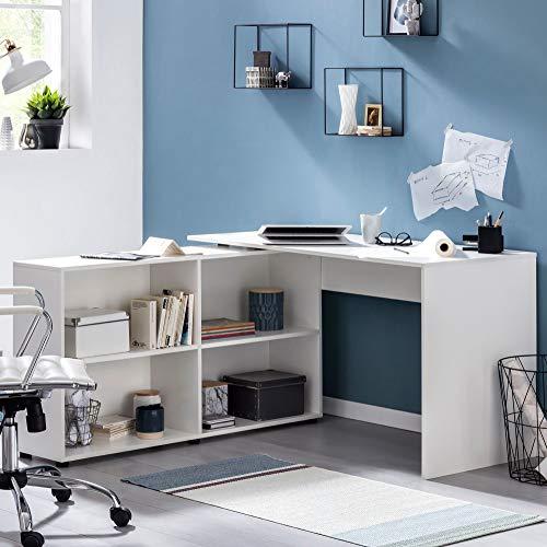 Finebuy Schreibtischkombination Eckschreibtisch Schreibtisch mit Regal Weiß