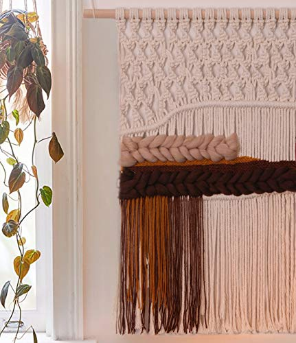 FLBER OUTLET Macrame Wall Hanging Ombre Yarn Wall Art Handwoven Home Decor,20''W30''L