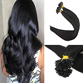Fshine U Tip Fusion Extensions Human Hair 14 Inch Color 1 Jet Black Nail Tip Remy Hair Extensions Keratin Tip Extensions 0.8g Per Strand 40 Gram Per Pack