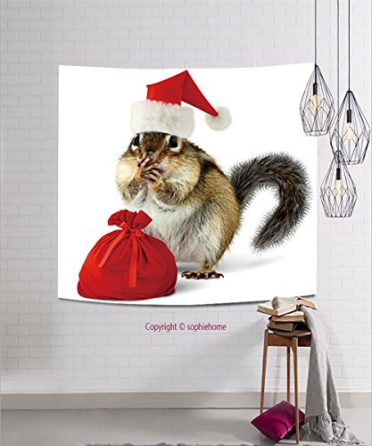 sophiehome Tapestries111966347 Chipmunk in red Santa Claus hat and bag with gifts on white background hanging magical thinking tapestry 31.5W x 31.5L Inches