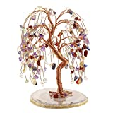 Jovivi Natural 7 Chakra Healing Crystals Quartz Tree Tumbled Gemstone Stones Money Tree, Geode Agate Slices Base Feng Shui Ornaments Home Decoration for Wealth and Luck 5.5'-6.3'