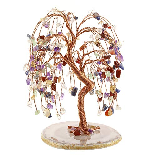 PESOENTH Money Tree Feng Shui 7 Chakra Crystals Gemstones Healing Tree of Life Ornaments Figurines Agate Slice Geode Quartz Stone Stand for Wealth Good Luck Home Decoration ()
