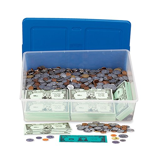 Coin Counting Game - hand2mind Money Classroom Kit, Educational Toy with Paper Bills, Plastic Coins, and Plastic Storage Tote (Set of 2900+ Pieces)