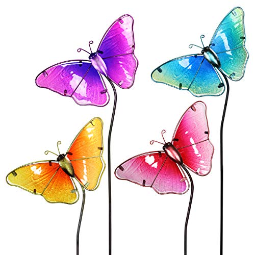 (Exhart Colorful Butterfly Decorations - Durable Glass