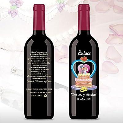 50 Botellas de vino Tinto (3/8) decorada directamente sobre vidrio con dibujo de una tarta nupcial para detalles de boda, personalizado con los nombres de los novios y las fechas: Amazon.es: Alimentación