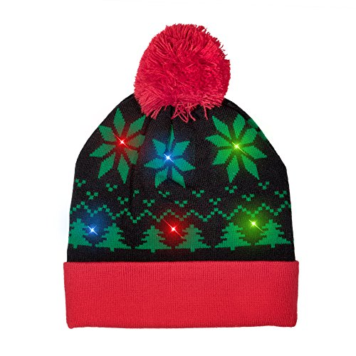 Windy City Novelties LED Light-up Knitted Ugly Sweater Holiday Xmas Christmas Beanies - 3 Flashing Modes (Christmas Theme)