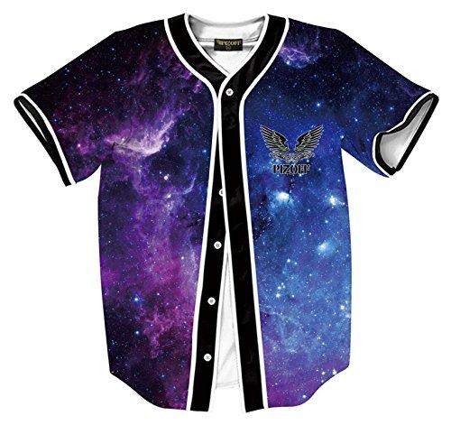 (PIZOFF Short Sleeve Beseball Team Jersey V-Neck Button Down Galaxy Print T Shirts Y1724-78-L)