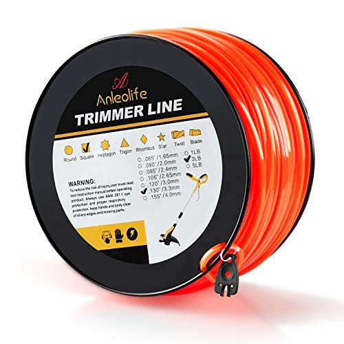 - Anleolife 3-Pound Commercial Square .130-Inch-by-420-ft String Trimmer Line in Spool,with Bonus Line Cutter, Orange