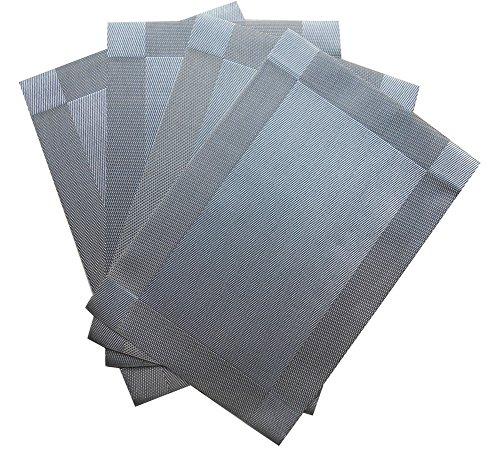 Placemats 4 pcs Set, Non Harm PVC Textilne Place Mats, Non Slip Tabletop Accessory, Heat Protection Table Set, 18x12 Inches Square(Silver)