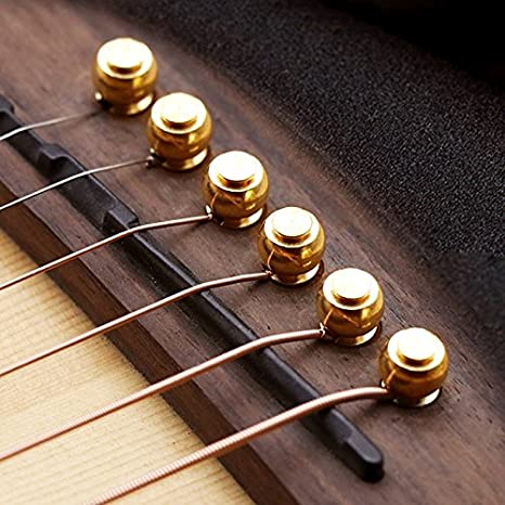 【 Mejor Deals para Navidad 】 OriGlam, 6 piezas guitarra puente Pins, cobre latón pines, cadena uñas Clavijas para guitarra acústica Folk, ...