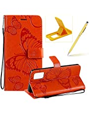 Strap Leather Case for Galaxy A51,Orange Wallet Leather Case for Galaxy A51,Herzzer Premium Stylish Pretty 3D Butterfly Printed Magnetic Soft Rubber Stand Case with Card Slots