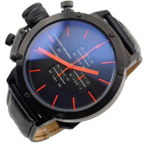 Pagani Design 50mm Black Dial Stainless steel Chronograph Quartz men Watch 2071