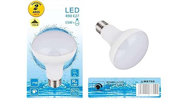 Leduni Bombilla LED E27 R63 9W / R90 15W interior Mejor precio bajo consumo alta alidad (6000K LUZ BLANCA, 15W): Amazon.es: Iluminación