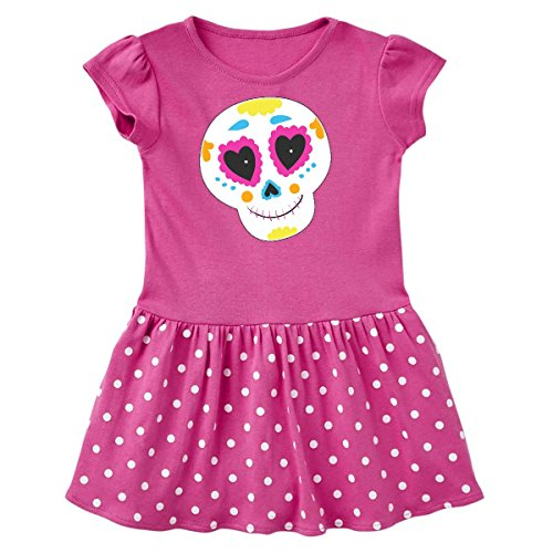 inktastic - Sugar Skull Orange Toddler Dress 4T Raspberry with Polka Dots -