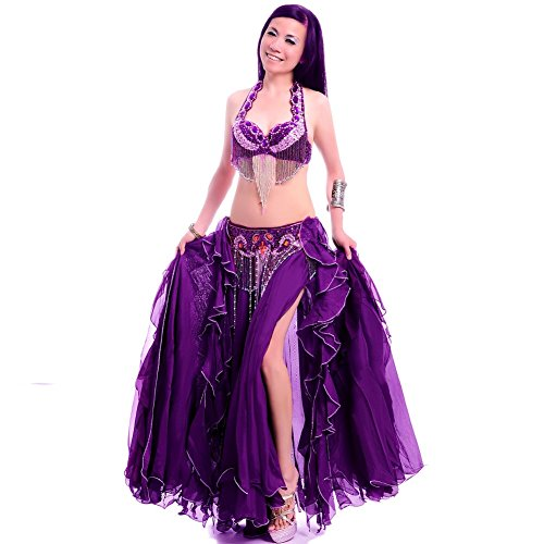 ROYAL SMEELA Belly Dance Costume Set for Women Belly Dance Bra and Belt Chiffon Dancing Skirts Professional Outfit 3pcs Purple]()
