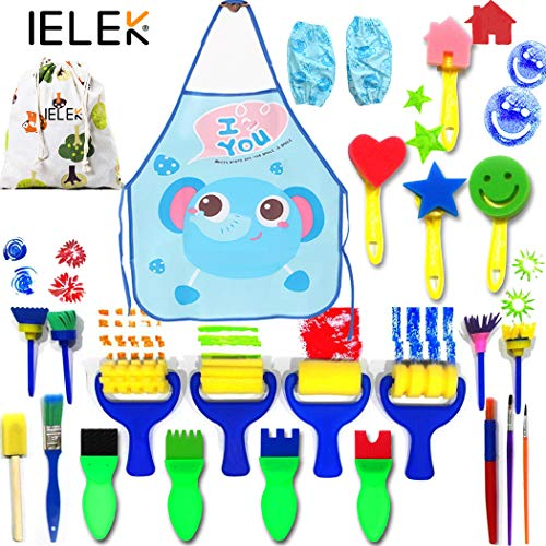 Painting Kits for Kids,Art Smocks Waterproof Craft Drawing Tools Set,Sponge Brushes Artist Painting Aprons with 2 Sleeves for Early DIY Learning ()