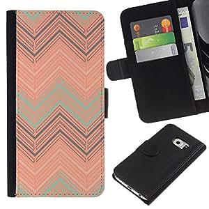 KingStore / Leather Etui en cuir / Samsung Galaxy S6 EDGE / Peach trullo Modelo en colores pastel