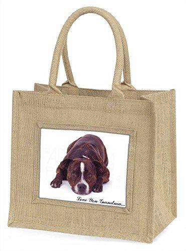 Advanta Staff Bull Terrier LOVE SIE Grandma Große Einkaufstasche/Weihnachtsgeschenk, Jute, beige/natur, 42x 34,5x 2cm