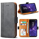 Samsung Galaxy S9 Case, Bozon Wallet Case for Galaxy S9 Flip Folio Leather Cover with Stand/Card Slots and Magnetic Closure (Dark Grey)