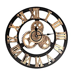 Quaanti Vintage Industrial Gear Wall Clock,Round 3D Retro Rustic Battery Operated Non-Ticking Large Art Wooden Handmade Decorative Clocks for Office,Home,Kitchen,Bar,Modern Living Room (Gold /13in)
