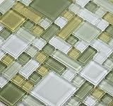 LADA Fresh Avocado (GP02) Soft Green Glass Backsplash Tiles for Kitchen Bathroom Wall Mosaic Design (Sample)