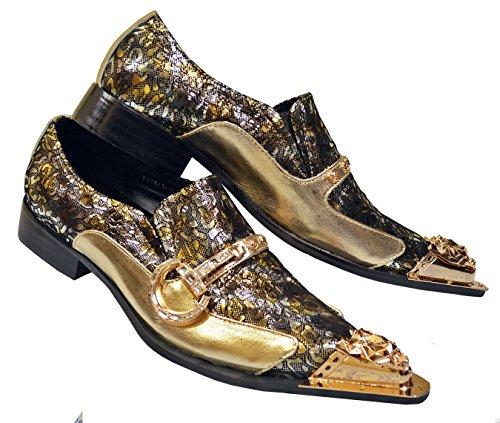 Fiesso Men's Genuine Leather Rhinestones Gold Buckle Meta...