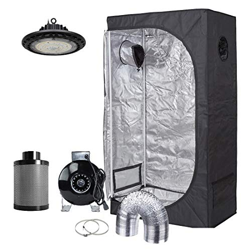 (Hydro Plus 300W Full Spectrum UFO LED Light + 36''x20''x63'' Grow Tent + 4'' Inline Fan Filter Duct Combo Indoor Grow Tent Complete Kit)