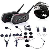 MotorFansClub 2 x BT E6 Bluetooth Motorcycle Helmet Interphone Intercom Headset 1200M 6 Riders