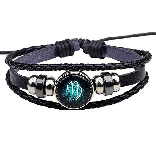 HIRIRI Hot Sale Unisex 12 Constellations Bracelet Fashion Jewelry Alloy Leather Bracelet Personality Bracelet Gift (@Virgo)