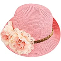 Bienvenu Summer Baby Girl Half a Flanging Straw Hat Beach Sun Cap with Two Flowers