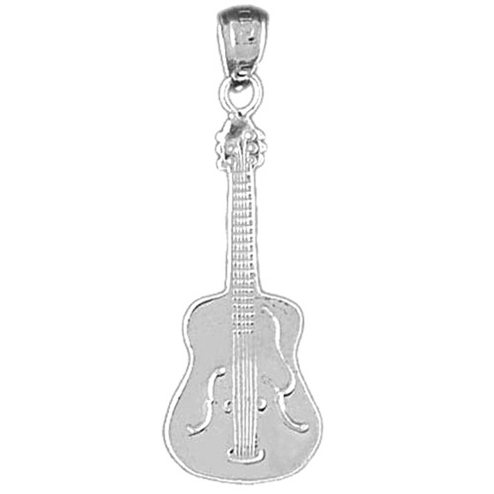 Rhodium-plated 925 Silver Guitarist Pendant with 18 Necklace Jewels Obsession Guitarist Necklace
