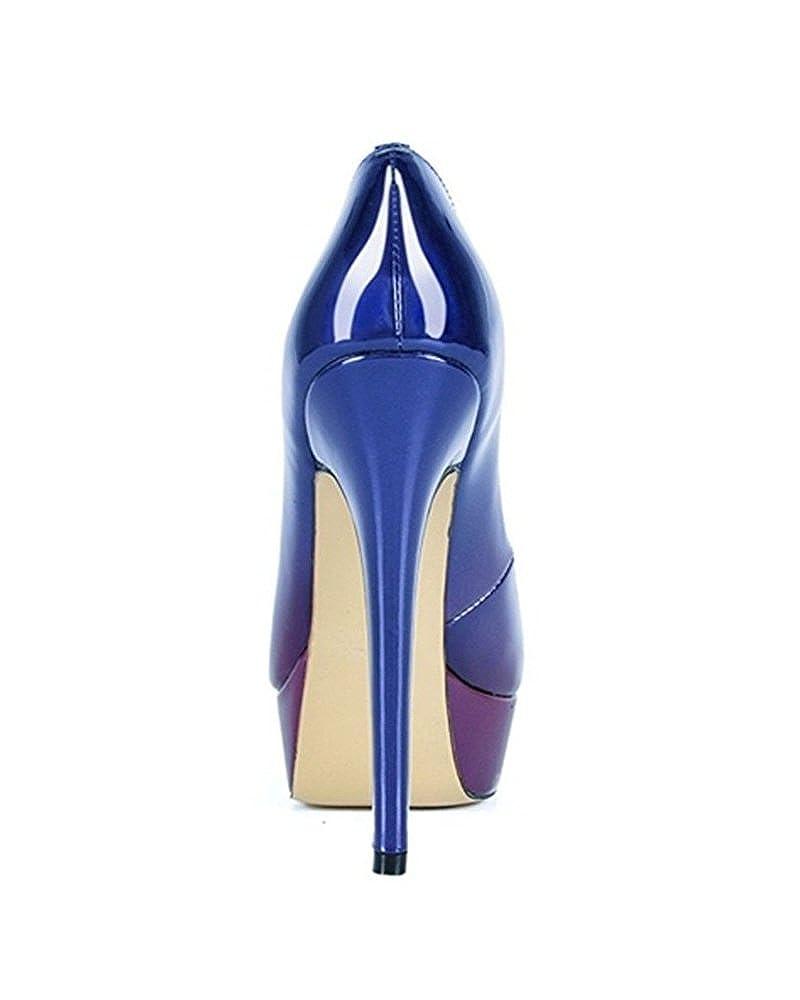 Emiki Damen Schuhe Zehen Farbverlauf Peep Zehen Schuhe Pumps Lackleder Stilettos Hoher Plateau Absatz Maßgeschneiderte Für Büro-Dame Blau-Lila 186ae7