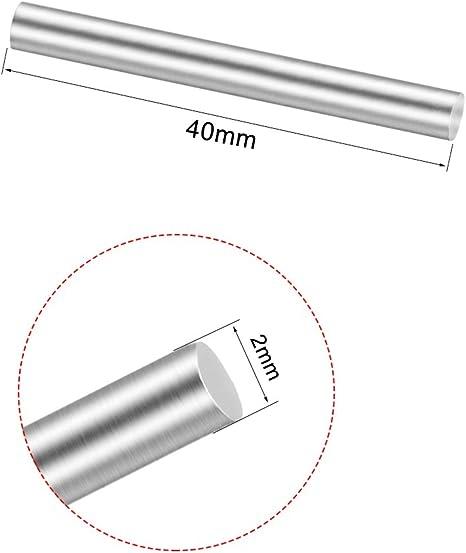 sourcing map 50 pcs Barra de varilla redonda para DIY RC coche modelo de 2mmx40mm metal s/ólido