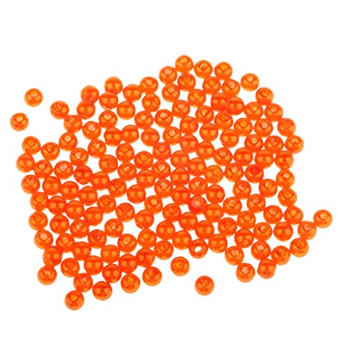 le Plastic Round Fishing Beads Lure for Rigs Lures Hooks Line (Color - Orange 4mm) ()