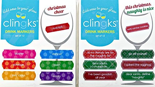 Clingks 24 Drink Markers - THIS CHRISTMAS NAUGHTY IS NICE and CHRISTMAS CHEER - Fun Alternative to Wine Charms
